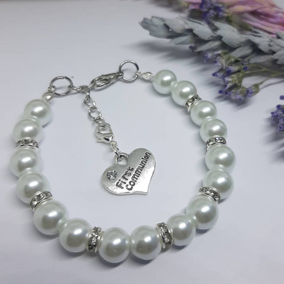 Pearl Communion Bracelet with Charm