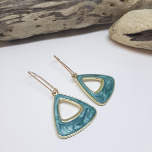 Green Acrylic triangle gold plated earrings