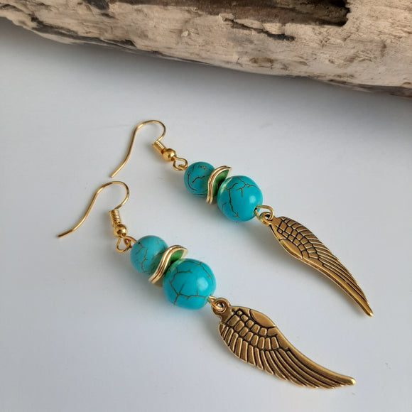 Turquoise gold feather earrings