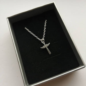 Necklace with Wings and Cross Charm