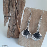 Silver Leaf Earrings (Various Colours)