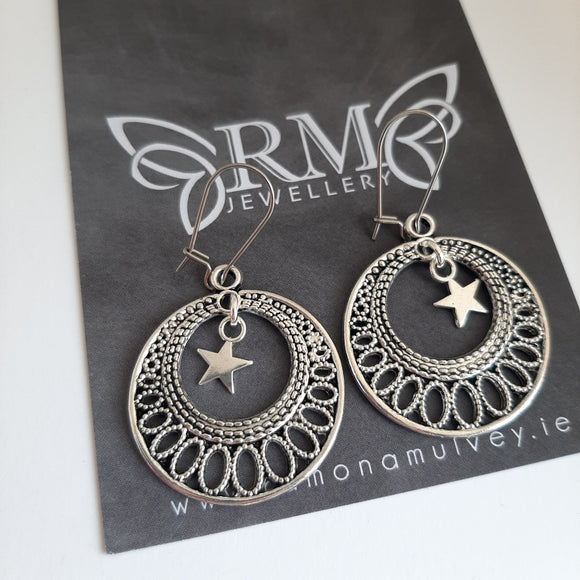 Boho circle star drop earrings
