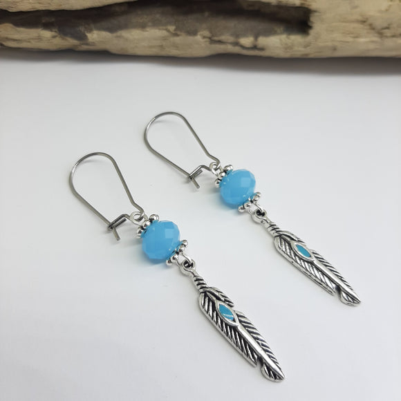 Blue feather boho earrings