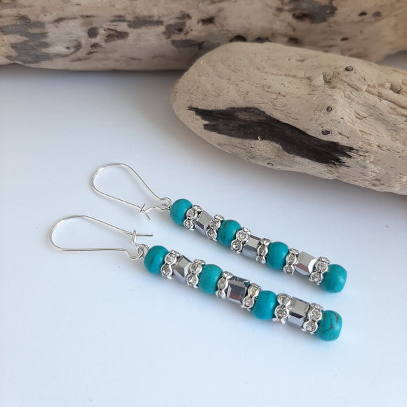 turquoise and silver long earrings