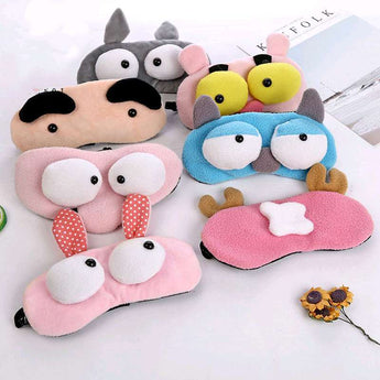 Cute cartoon plush big eye sleep eye mask shading sleep mask eye mask health care 3 types of sleep cotton goggles eye mask