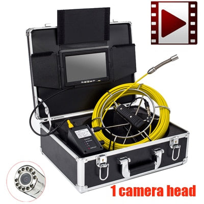 "40m DVR Fiber Glass Cable Waterproof Industrial Sewer Pipe Pipeline Inspection Underwater Camera 12Pcs Leds with 7"" LCD monitor"