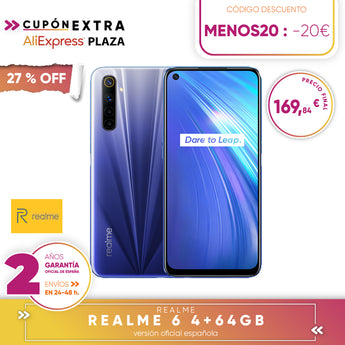 Realme 6 4 + 64gb, 4 + 128gb, 8 + 128gb Smartphone Octa Core, Four camaras, reader side paw prints