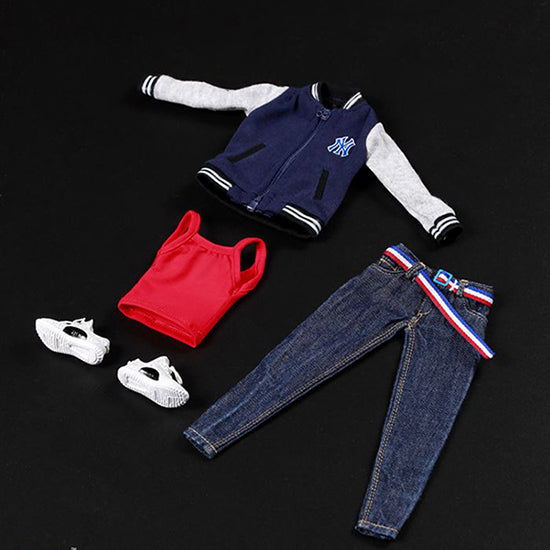 "1/6 Scale Female Leisure Baseball Clothes Jacket Jeans Set Sport Pants Suit Blue Fire Girl Toys 12""Action Figures Doll TOYS GIFT"