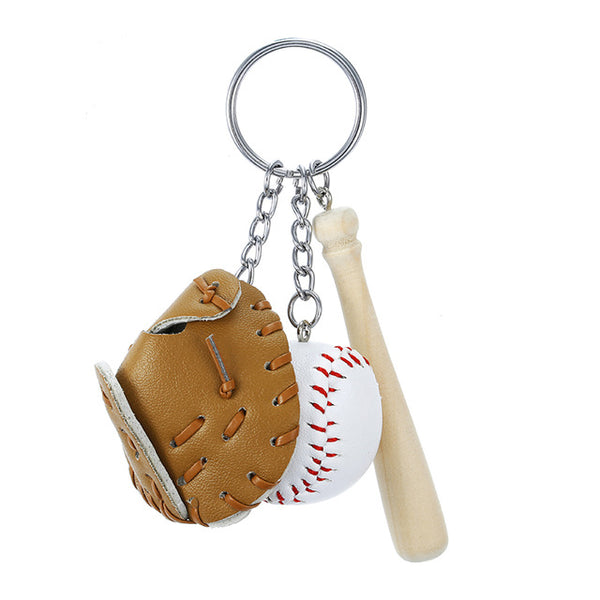 Mini DIY Three Piece Baseball Cute Sport Keychain Key Ring Gift For Unisex Sports Model Toy Gifts Small Pendant