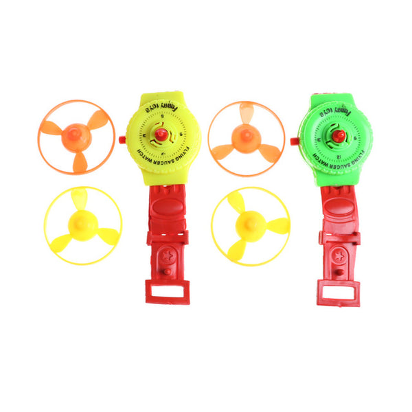 Funny Flying Saucer Watch Launcher With 2 Flying Disc Mini Creative Gift Sport Game Toy Kids Watch Toys Random