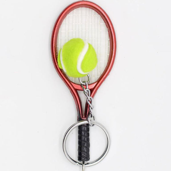 Mini DIY Tennis Racket Keychain Cute Sport Keychain 6 color Pendant Keyring Sports Key Chain Sports Model Toy Gifts
