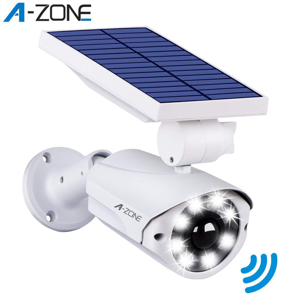 A-ZONE Solar LED Light 6500K White Dummy Security Camera Outdoor PIR Motion Sensor IP66 Wireless Fake Surveillance Bullet Camera