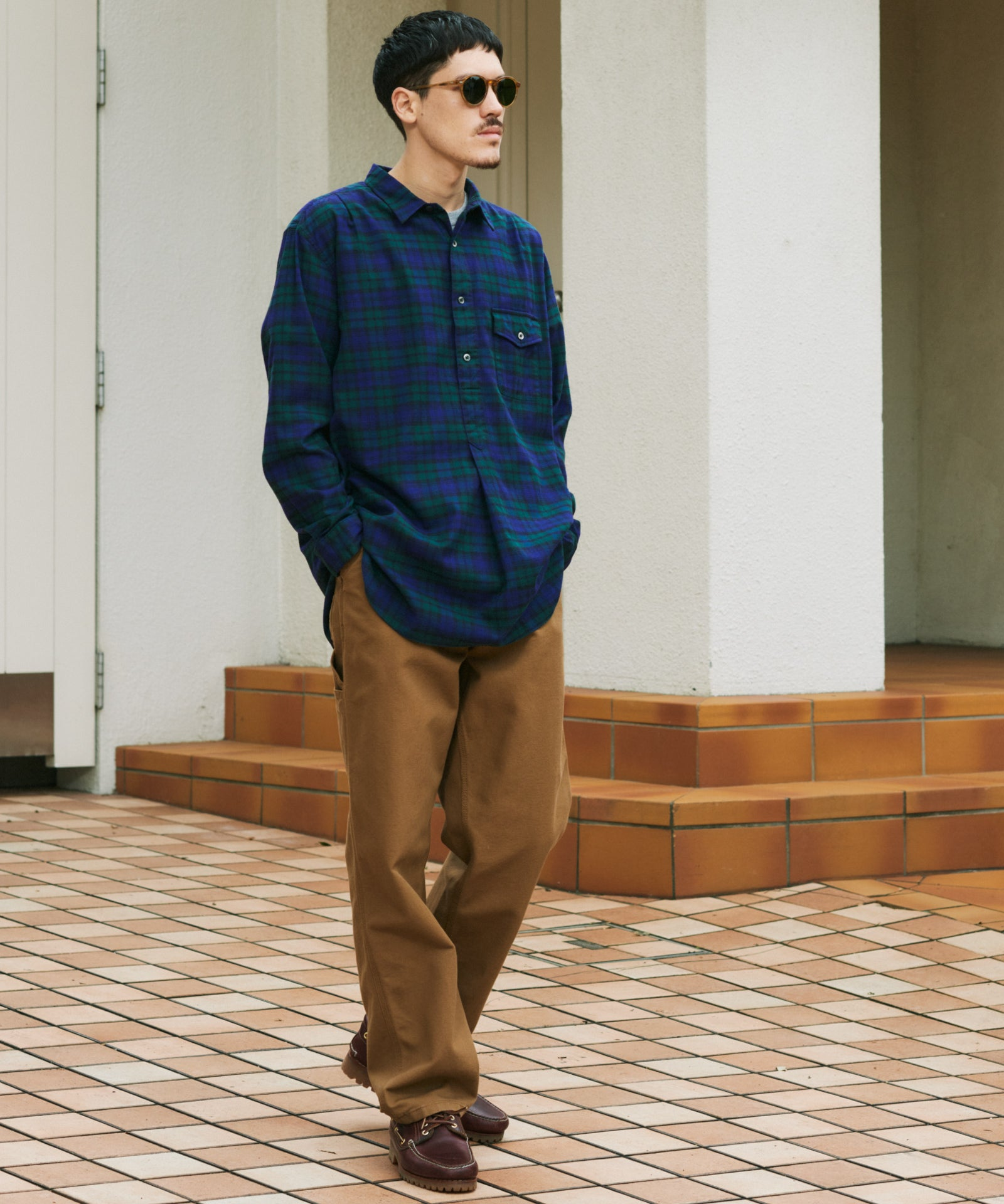 THOMAS MASON CHECK PULLOVER LONG SHIRT - D