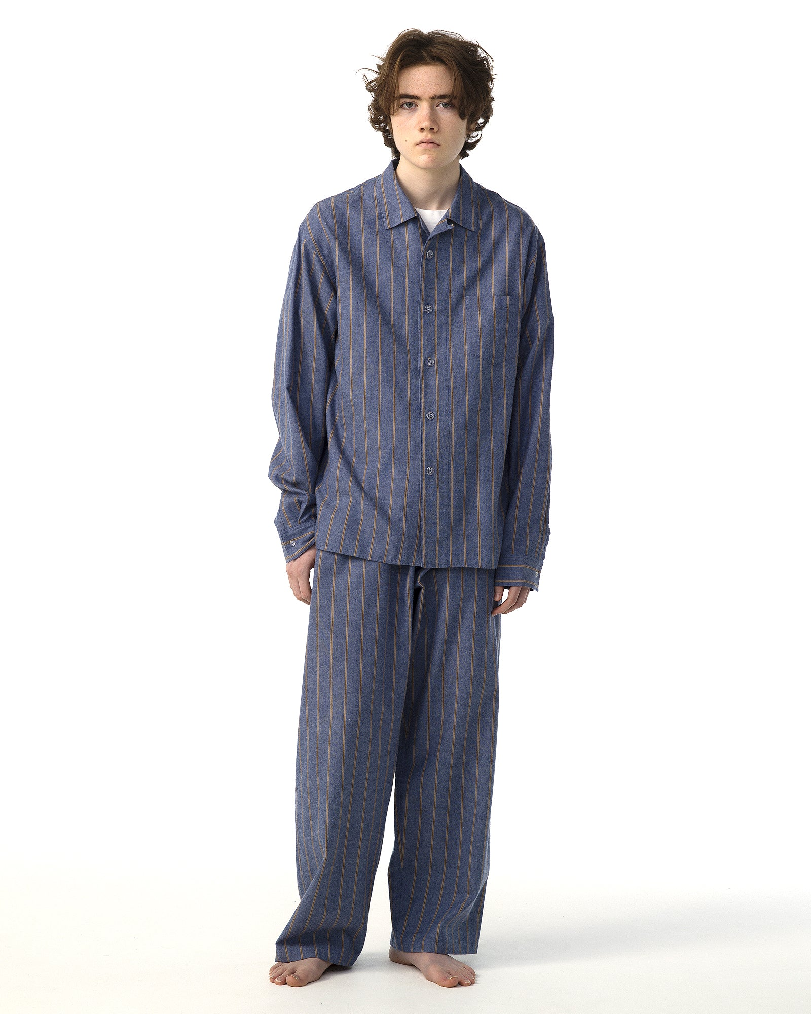 NOWHAW COTTON STRIPE FLANNEL PAJAMAS - BLUE