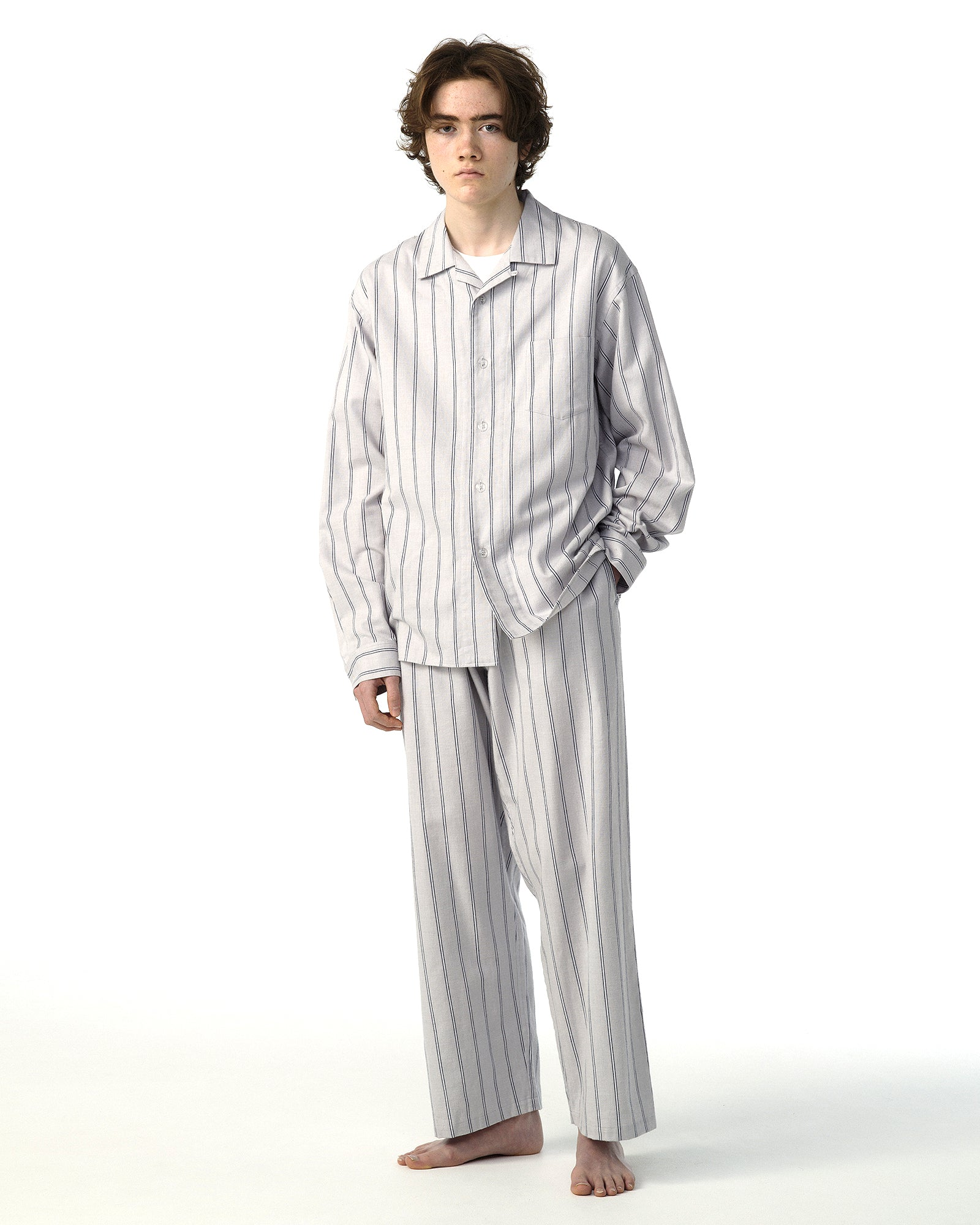 NOWHAW COTTON STRIPE FLANNEL PAJAMAS - GRAY