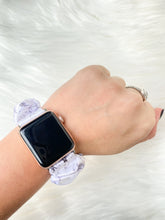 Load image into Gallery viewer, White Marble Satin Apple Watch Scrunchie