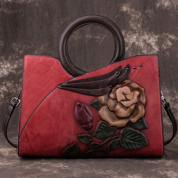 Vintage top leather rose handbag