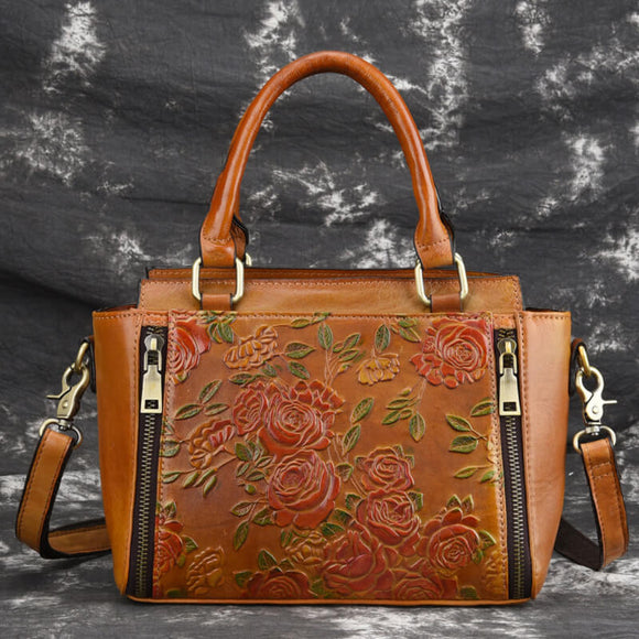 Vintage embossed square flower handbag