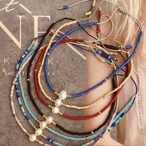 Summer Myuki rice beads hand-woven natural freshwater pearl European and American friendship rope small bracelet