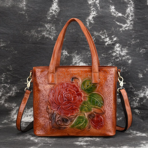 Retro rubbed color peony portable messenger bag