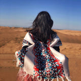 Shawl cloak women autumn and winter thickening ethnic style shawl knitted fringed scarf