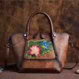 Vintage embossed hand-polished color portable diagonal bag