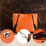 Large capacity transparent dyed vegetable tanned leather handbag