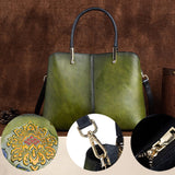 Cowhide hand-polished embossed diagonal handbag