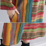 Autumn new plus size women's literary retro loose and thin irregular striped long-sleeved dress