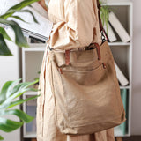 Large capacity retro canvas bag solid color messenger bag
