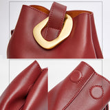 Solid color leather bucket bag