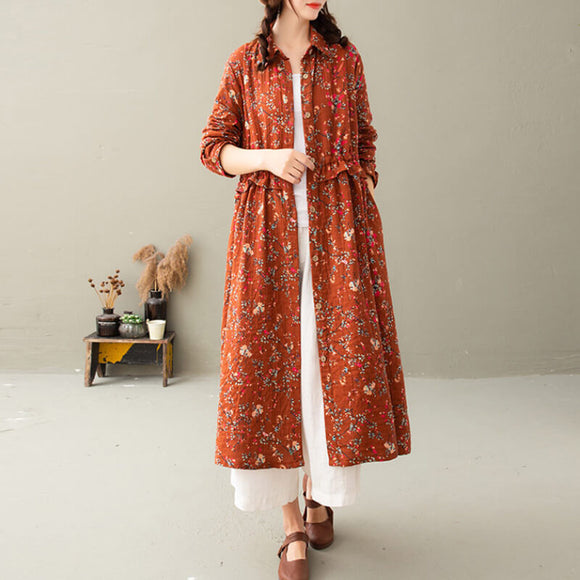 Floral cotton and linen Coat