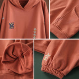 Plus size autumn new embroidery loose hoodie cotton top