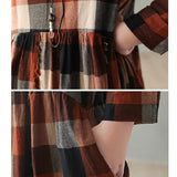 V-neck plaid dress retro loose long sleeve dress women's clothing