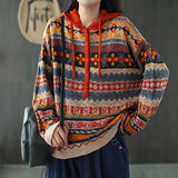 Loose retro hooded sweater