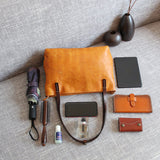 Vegetable tanned leather contrast tote bag
