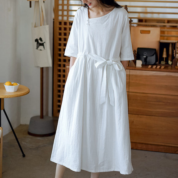 Summer long skirt new half sleeve loose waist dress