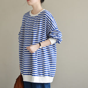 Striped sweater loose plus size top literary retro ladies T-shirt