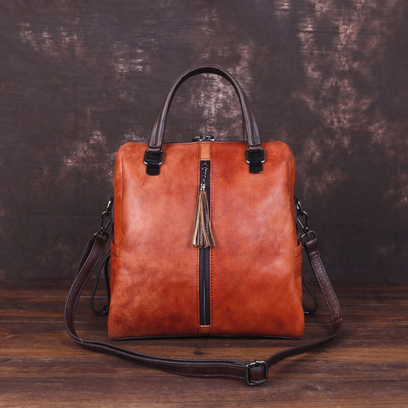 Multipurpose leather retro backpack