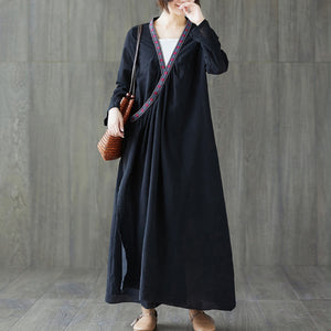 New improved retro stitching long sleeve dress
