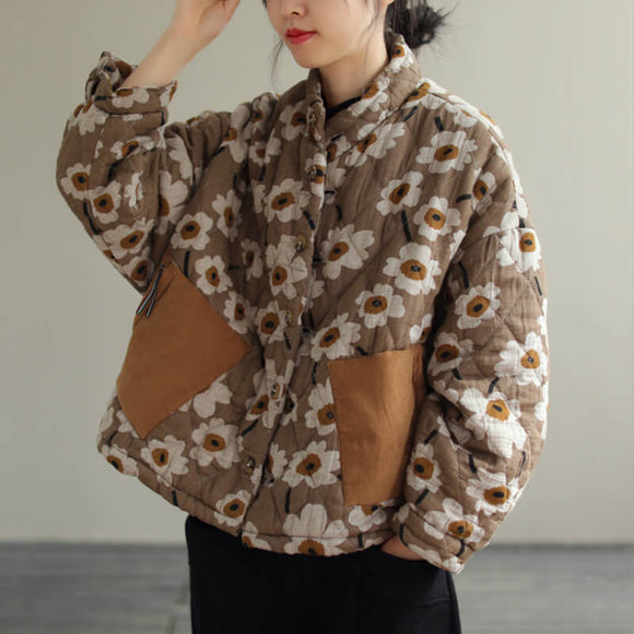 Ethnic style loose warm floral pattern cotton clothing