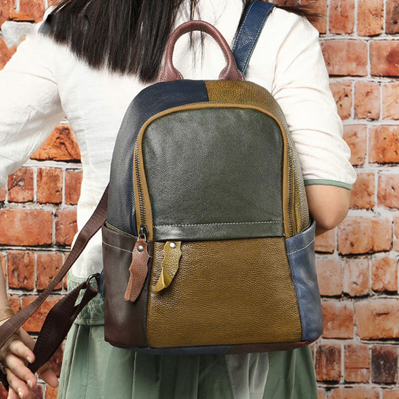 Vintage stitching leather backpack