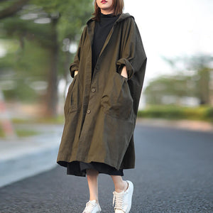 Plus size hooded trench coat