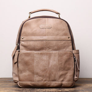 Ladies nubuck leather large-capacity backpack