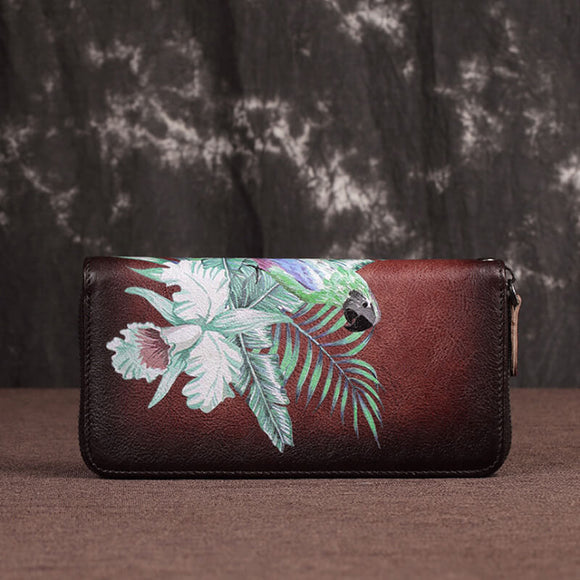 Parrot print leather wallet
