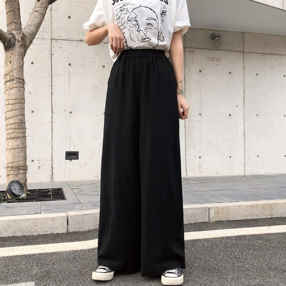 Loose cotton and linen elastic waist palazzo pants