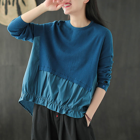 Autumn knitted stitching round neck ladies blouse