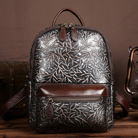 Embossed plant pattern backpack