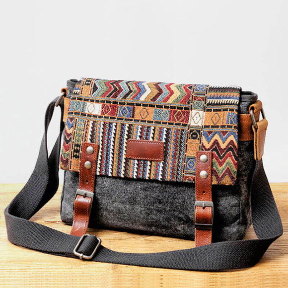 Ethnic retro diagonal bag