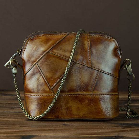 Vegetable tanned leather retro stitching chain bag/crossbody bag